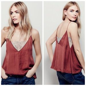 Free people 'sweet v' camisole with lace